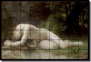 "Bouguereau Old World Nude Tumbled Marble Tile Mural 36"" x 24"" 4""  - WB2053"