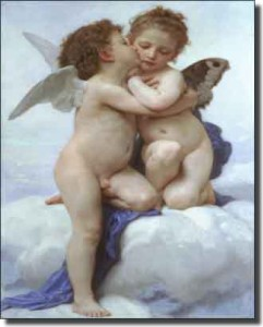 "Cupid and Psyche as Children by William Bouguereau - Artwork On Tile Tumbled Marble Mural 40"" x 24"""