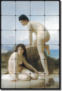 "Two Bathers by William Bouguereau- Old World Tumbled Marble Tile Mural 24"" x 16"" Kitchen Shower Back"