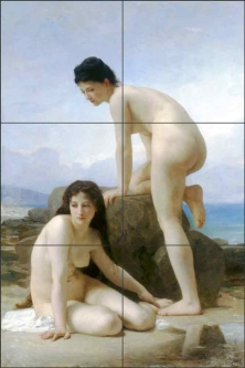 Two Bathers by William Bouguereau Ceramic Tile Mural WB2059