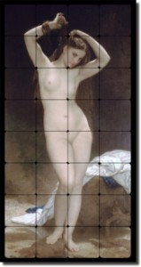 "Baigneuse by William Bouguereau- Old Worldl Tumbled Marble Tile Mural 32"" x 16"" Kitchen Shower Backs"