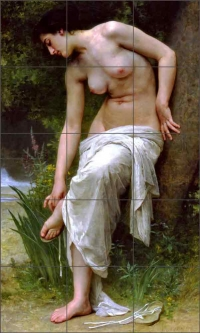 After the Bath by William Bouguereau Ceramic Tile Mural - WB2070