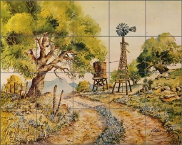 Cullar Country Life Windmill Ceramic Tile Mural - WC114
