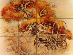 Cullar Country Life Wagon Ceramic Tile Mural - WC116