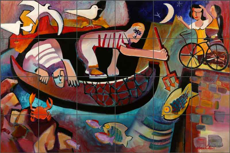 Night Fishing with Picasso by Warren Cullar Ceramic Tile Mural - WC121
