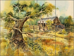 Neighbor's Barn by Warren Cullar Ceramic Tile Mural - WC125