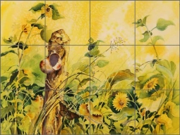 Cullar Country Life Sunflowers Ceramic Tile Mural - WC127