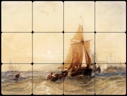 Fishing Boats off the Coast at Sunset by William Callow Tumbled Marble Tile Mural WC2-001