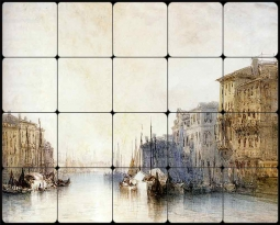 The Grand Canal, Venice by William Callow Tumbled Marble Tile Mural WC2-003