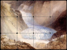 Glacier Du Rhone and the Garlingstock by William Callow Tumbled Marble Tile Mural WC2-005