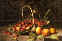 A Basket of Strawberries and Peaches by William Hammer Ceramic Tile Mural - WH002