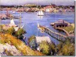 "Gloucester Harbor by Willard Leroy Metcalf - Seascape Glass Tile Mural 24"" x 18"""