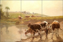Cattle in a Pasture by Wenceslas Brozik Ceramic Tile Mural WVB001