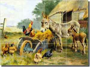 "Weeks Rooster Donkey Ceramic Tile Mural 24"" x 18"" - WW001"